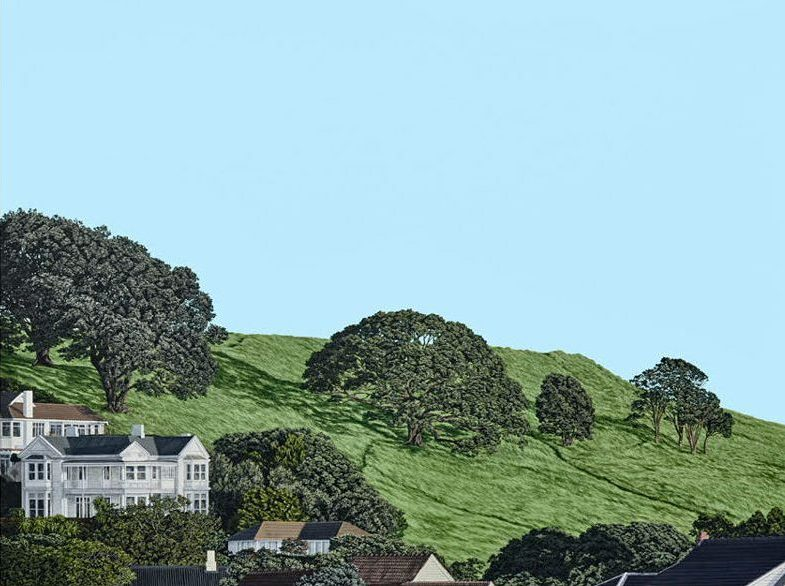 Painting of houses on a hill