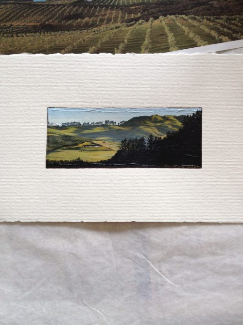 Original painting of farmland in the morning