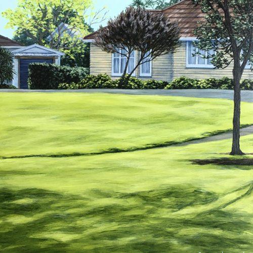 Original painting of a suburban park