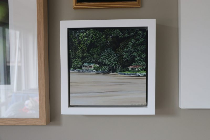 Original Painting of Kiwi baches at the beach with the tide out