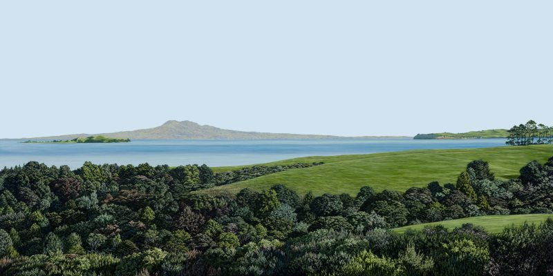 Painting of Rangitoto and Motuihe from Beachlands